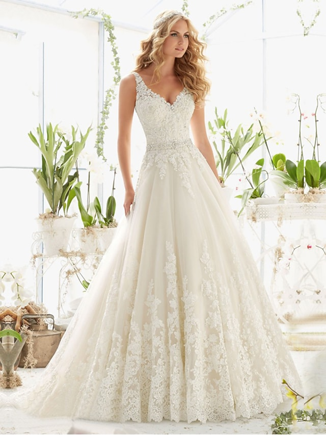 A-Line Wedding Dresses V Neck Court Train Lace Tulle Lace Over Satin Regular Straps Romantic Illusion Detail Backless with 2021