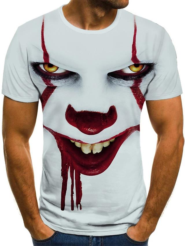 Men's Tee T shirt Shirt 3D Print Graphic Tribal 3D Print Short Sleeve Halloween Tops Streetwear Punk & Gothic Round Neck White