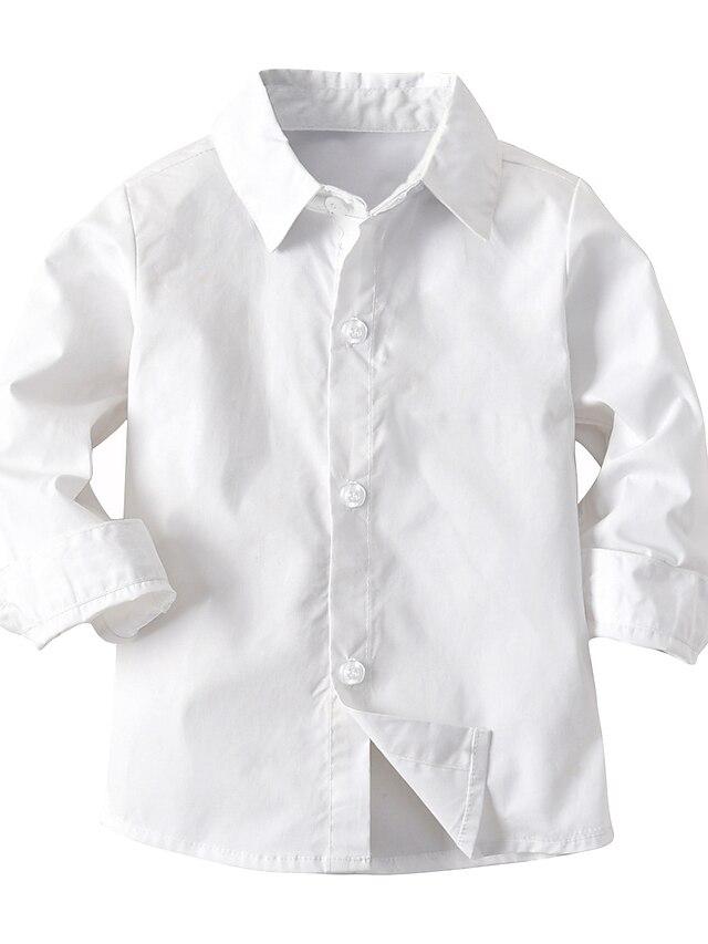 Дети Дети (1-4 лет) Мальчики Футболка Рубашка Длинный рукав Однотонный Белый Дети Верхушки Лето Классический Уличный стиль День детей