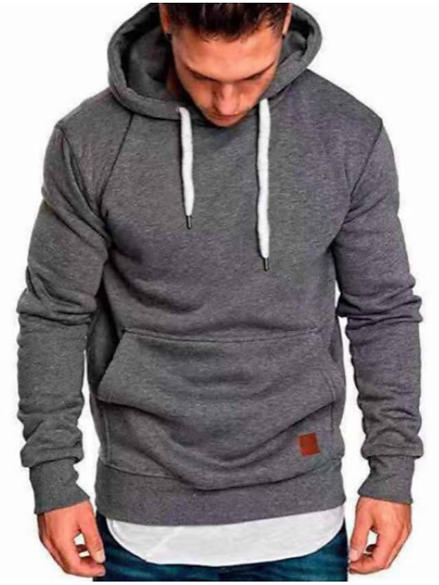 Men's Plus Size Hoodie Solid Colored Geometric Hooded Basic Casual Hoodies Sweatshirts  Wine Khaki Black