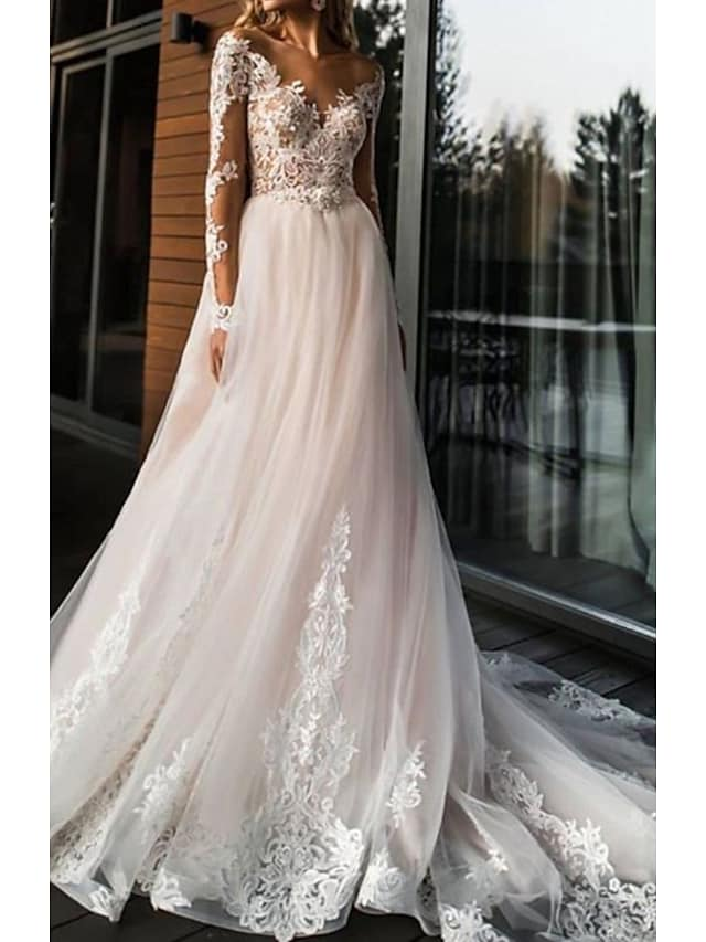 A-Line Wedding Dresses V Neck Sweep / Brush Train Lace Tulle Long Sleeve Romantic Boho Illusion Sleeve with Appliques 2021