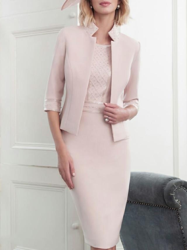 시스 / 칼럼 신부 어머니 드레스 랩 포함 하이 넥 무릎 길이 새틴 반 소매 와 크리스탈 디테일 2021