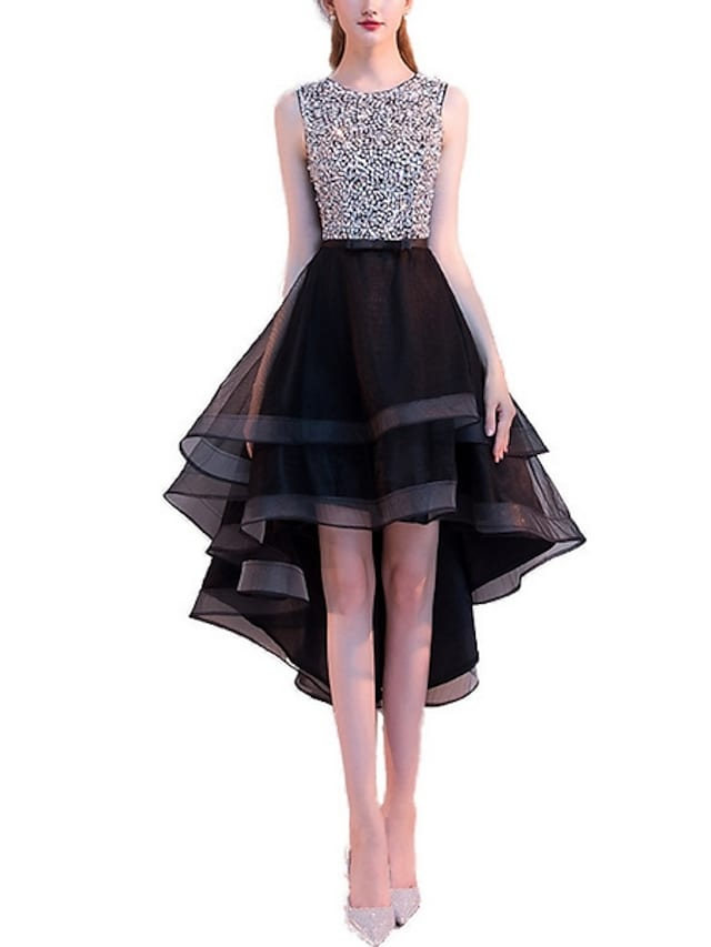 A-Line Hot Cocktail Party Prom Dress Jewel Neck Sleeveless Asymmetrical Tulle with Crystals Sequin Tier 2021