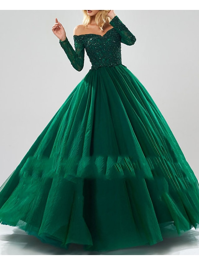 Ball Gown Sparkle Quinceanera Prom Dress Off Shoulder Long Sleeve Floor Length Tulle with Beading Sequin 2021