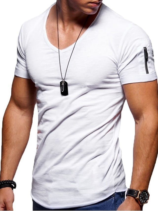 Men's Tee T shirt Solid Colored Short Sleeve Business Tops Basic Slim Fit Comfortable Big and Tall V Neck Blue Purple Yellow / Summer