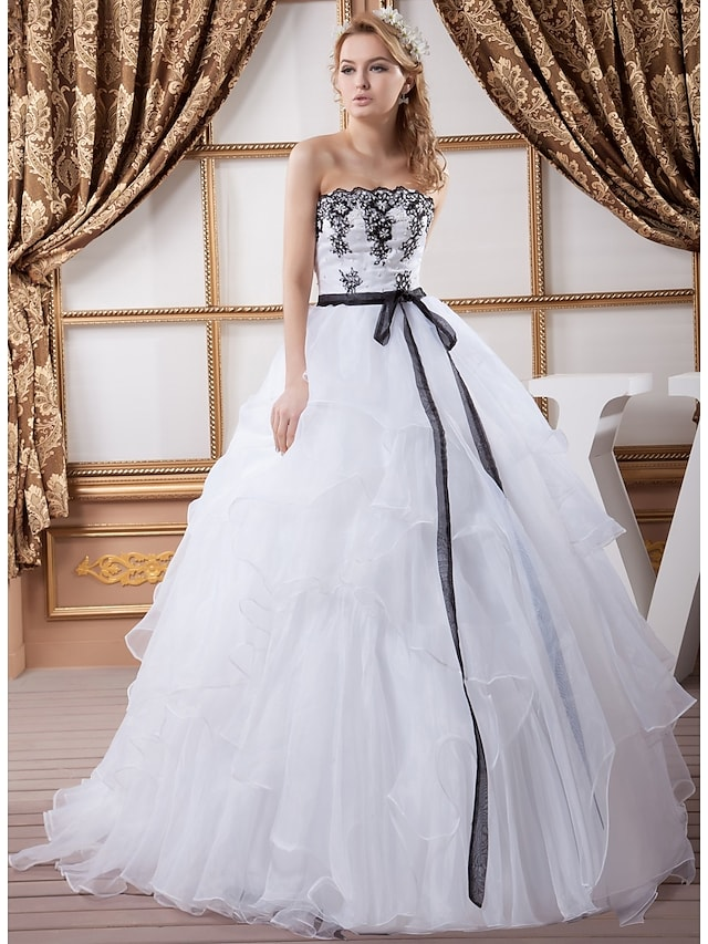 Ball Gown Wedding Dresses Strapless Court Train Lace Organza Satin Strapless Wedding Dress in Color with Sashes / Ribbons Bow(s) Beading 2021