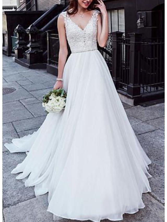 A-Line Wedding Dresses V Neck Court Train Chiffon Lace Regular Straps with Beading 2021