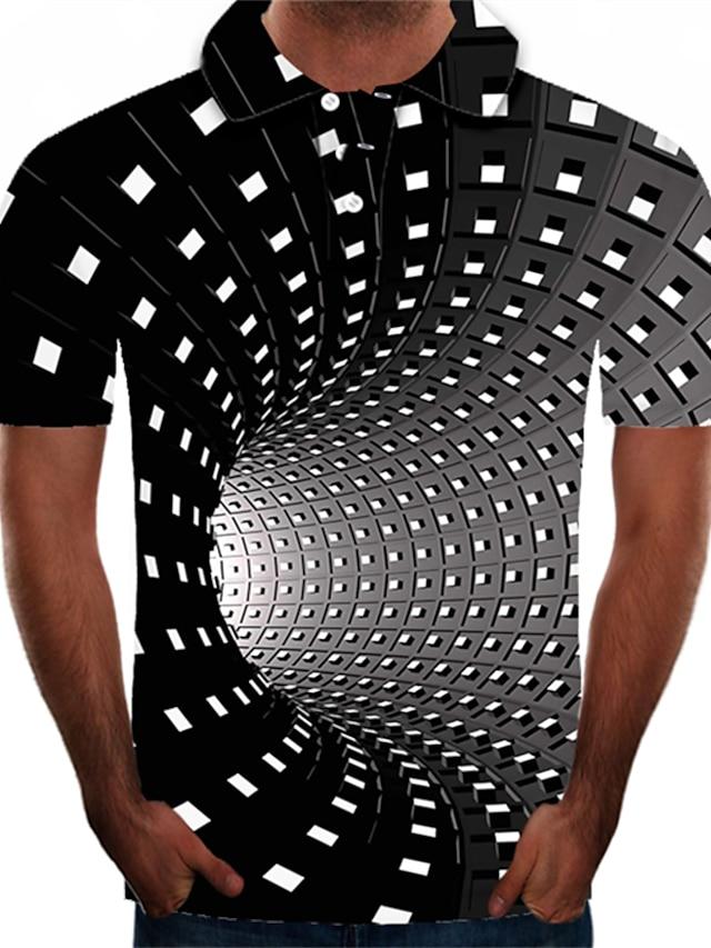 남성용 골프 셔츠 테니스 셔츠 그래픽 3D 플러스 사이즈 짧은 소매 일상 탑스 스트리트 쉬크 과장된 셔츠 카라 블랙