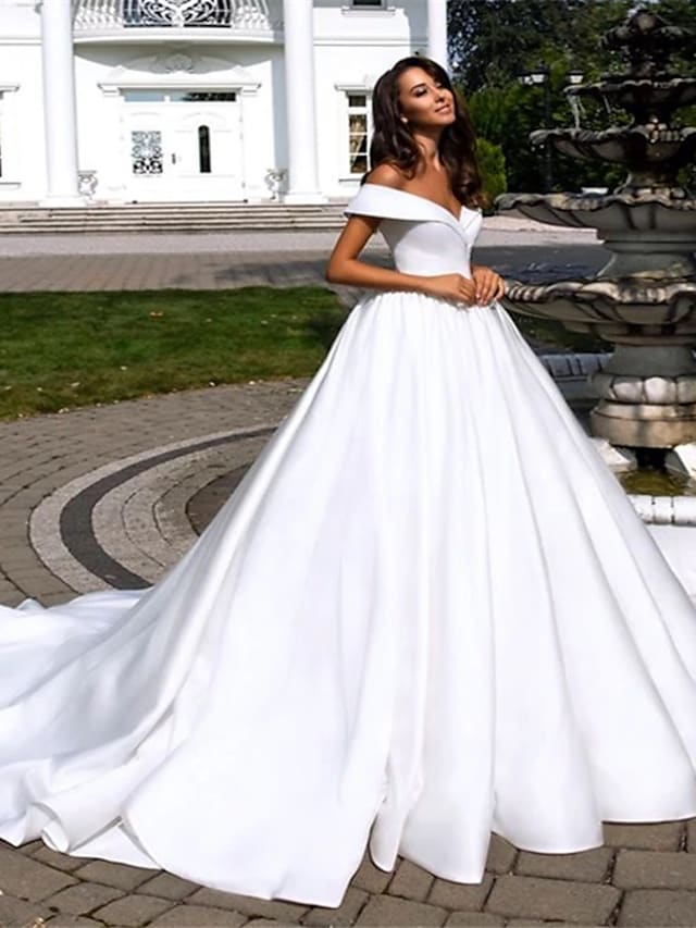 Ball Gown A-Line Wedding Dresses Off Shoulder Cathedral Train Polyester Short Sleeve with 2021