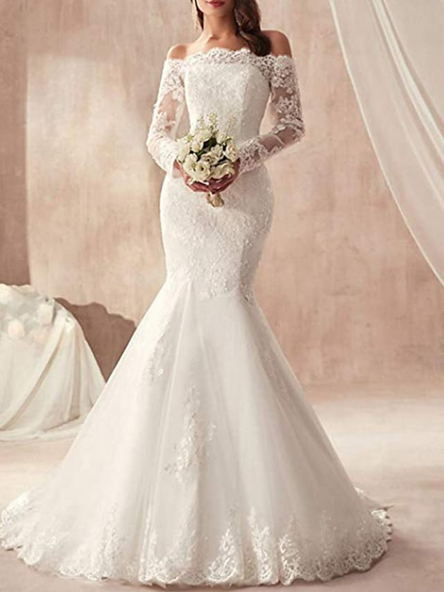 Mermaid / Trumpet Wedding Dresses Off Shoulder Sweep / Brush Train Tulle Regular Straps Illusion Sleeve with Appliques 2021