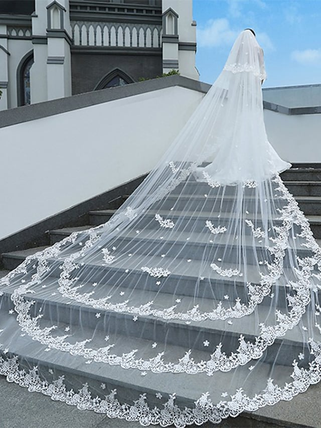 One-tier Classic Style / Lace Wedding Veil Cathedral Veils with Solid / Pattern POLY / Lace