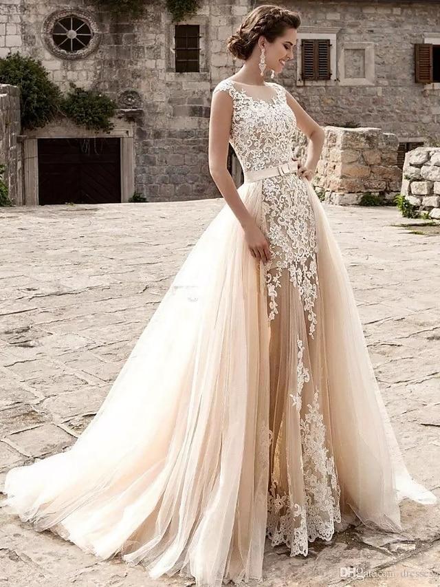 Mermaid / Trumpet Wedding Dresses Jewel Neck Court Train Lace Tulle Cap Sleeve Modern Detachable with Appliques 2021
