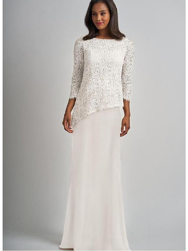 시스 / 칼럼 신부 어머니 드레스 엘레강트&럭셔리 바투 넥 바닥 길이 쉬폰 레이스 3/4 길이 소매 와 레이스 2021