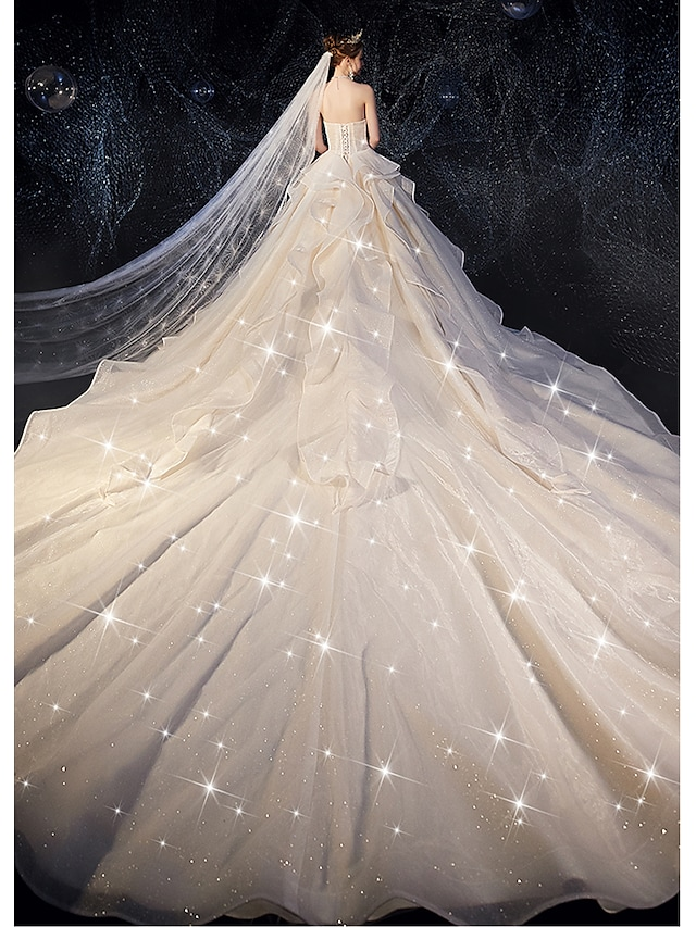 Ball Gown Wedding Dresses Strapless Watteau Train Tulle Strapless Glamorous Plus Size with Bow(s) Ruched Cascading Ruffles 2021