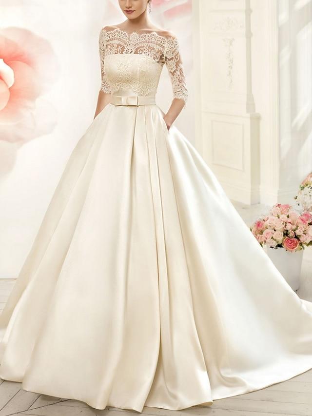 А-силуэт Свадебные платья V-образный вырез Со шлейфом средней длины Тюль Рукав до локтя обаятельный Прозрачные Рукав иллюзии с Аппликации 2021