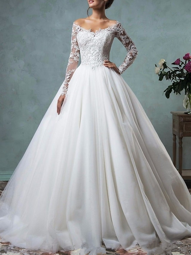 A-Line Wedding Dresses Off Shoulder Floor Length Tulle Long Sleeve Formal Plus Size with Appliques 2021