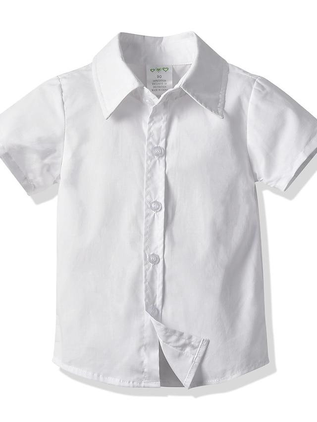 Děti Batole Chlapecké Tričko Košile Krátký rukáv Jednobarevné Bílá Vodní modrá Světlá růžová Děti Topy Léto Základní Šik ven