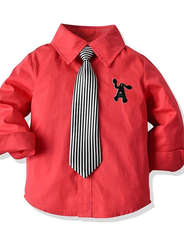 Niños Bebé Chico Camiseta Camisa Manga Larga Un Color Rojo Niños Tops Verano Básico Chic de Calle Día del Niño