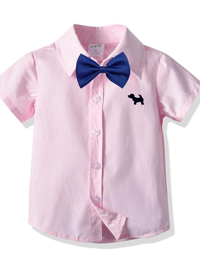 T-shirt Chemise Garçon Enfants Bébé Manches Courtes Chien Plein Logo Noeud de cravate Rose Claire Coton Enfants Hauts Eté basique Grande occasion Chic de Rue Uniforme d'Ecolier / Ecolière Décontracté