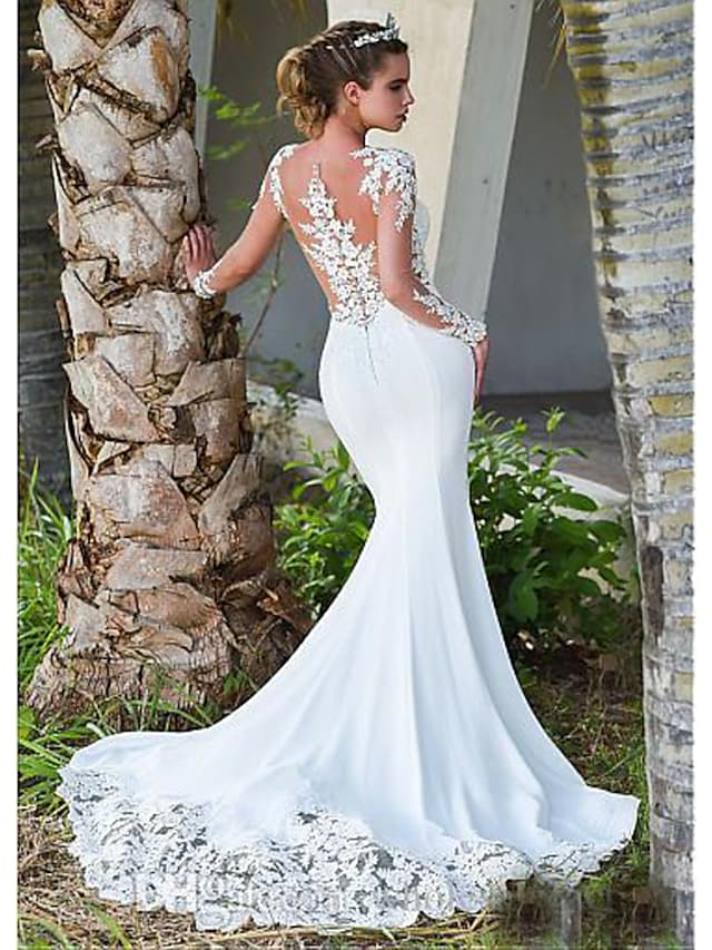 Mermaid / Trumpet Wedding Dresses Jewel Neck Court Train Lace Long Sleeve Formal Casual Vintage Illusion Sleeve with 2021
