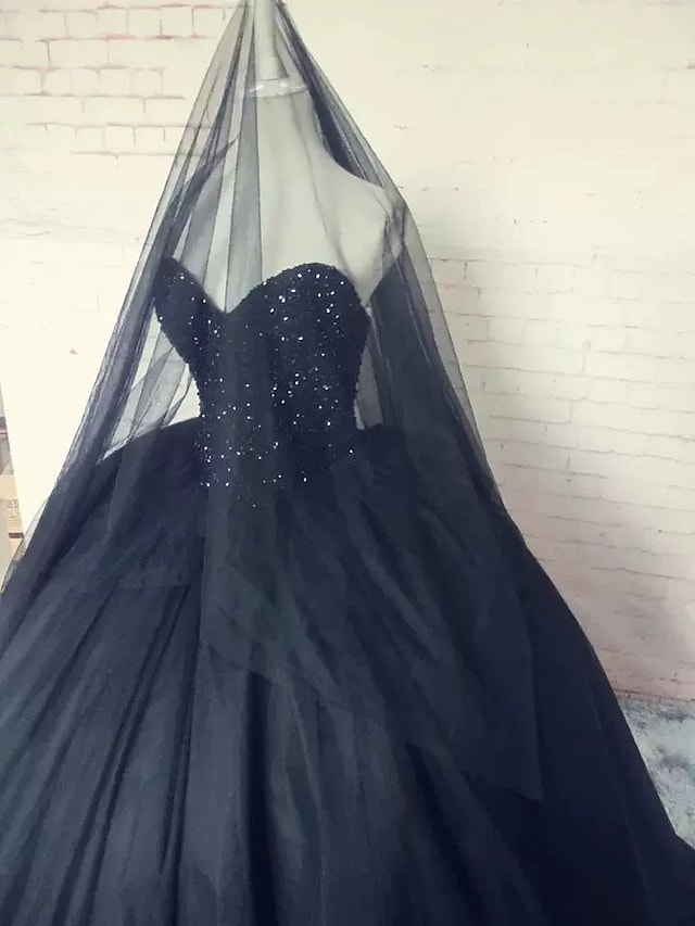 Ball Gown Wedding Dresses Strapless Sweep / Brush Train Lace Tulle Strapless Sexy Plus Size Black with Lace Beading Appliques 2021
