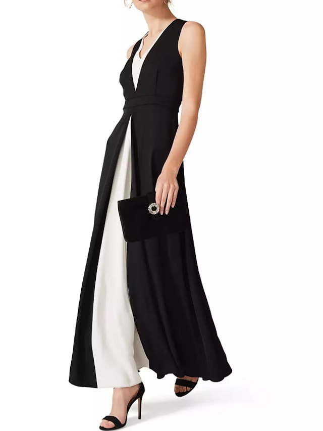 A-Line Elegant Wedding Guest Formal Evening Dress V Neck Sleeveless Ankle Length Chiffon with Draping Split Front 2021