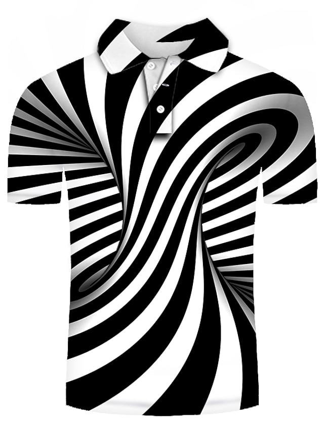 남성용 골프 셔츠 테니스 셔츠 그래픽 플러스 사이즈 짧은 소매 일상 슬림 탑스 베이직 과장된 셔츠 카라 블랙