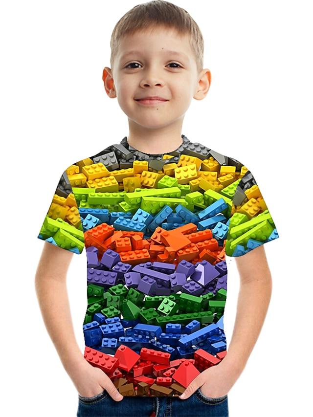 Kids Boys' T shirt Tee Short Sleeve Rainbow Optical Illusion Color Block 3D Print Red Green Royal Blue Children Tops Summer Basic Streetwear Sports
