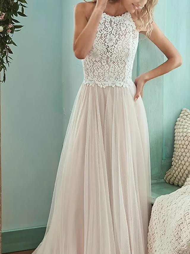 A-Line Wedding Dresses Jewel Neck Floor Length Lace Tulle Sleeveless Casual Boho Plus Size with Draping 2021