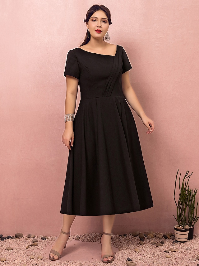 A-Line Plus Size Party Wear Cocktail Party Dress V Neck Short Sleeve Tea Length Polyester with Ruched 2021