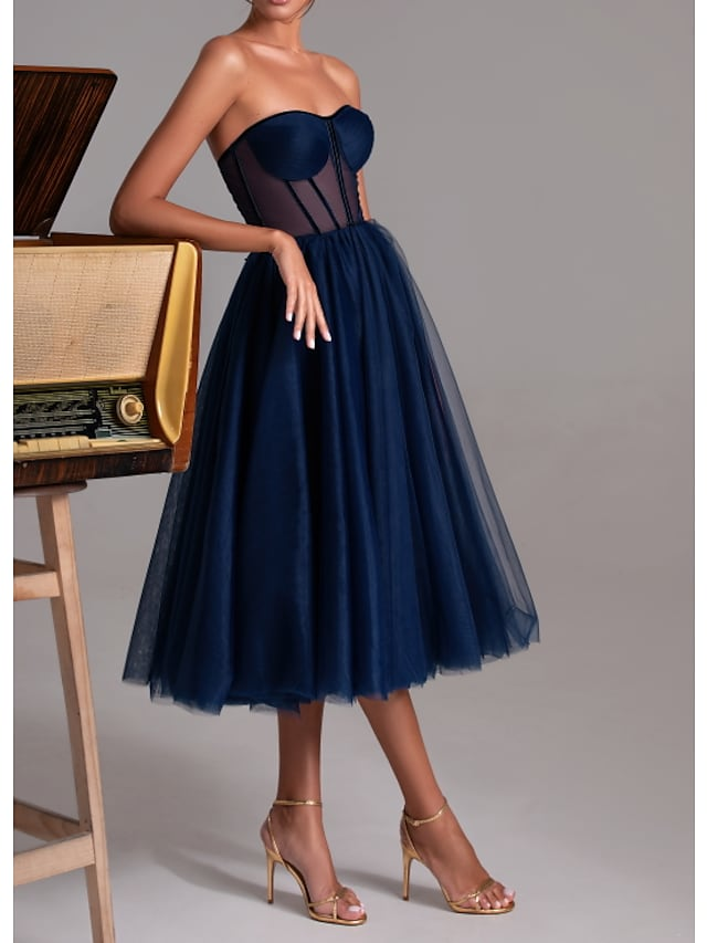 A-Line Sexy Cocktail Party Prom Dress Sweetheart Neckline Sleeveless Tea Length Polyester with Pleats 2021