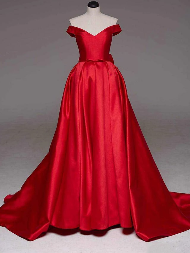 Ball Gown Sexy Quinceanera Formal Evening Dress Off Shoulder Sleeveless Court Train Satin with Bow(s) Pleats 2021