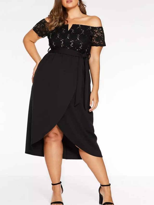 Sheath / Column Plus Size Party Wear Prom Dress Off Shoulder Short Sleeve Asymmetrical Polyester with Sash / Ribbon 2021