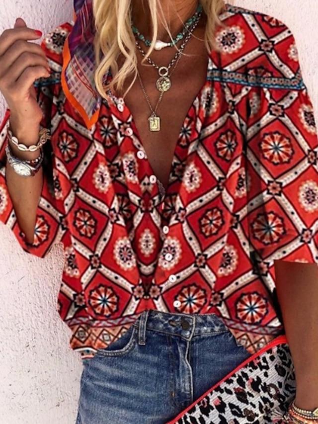 Women's Blouse Shirt Geometric Floral V Neck Boho Tops Red