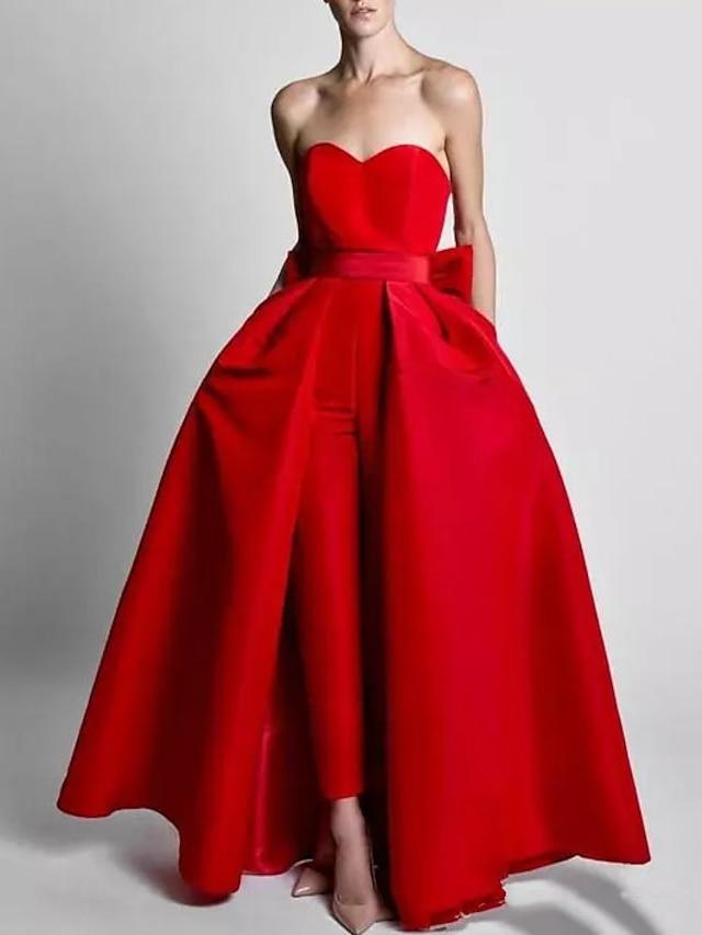Tulum Minimalist Zarif Düğün davetlisi Resmi Akşam Elbise Kalp Yaka Kolsuz Ayrılabilir Saten ile Fiyonk üst etek 2021