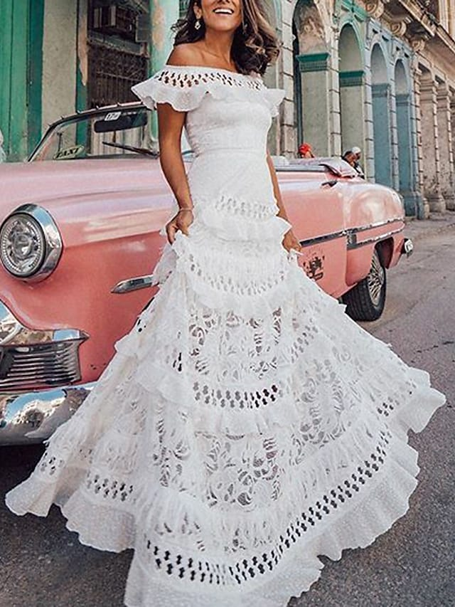 Women's A Line Dress Maxi long Dress White Short Sleeve Solid Color Ruffle Spring Summer Off Shoulder Party Hot Holiday Holiday Beach 2021 S M L XL / Lace