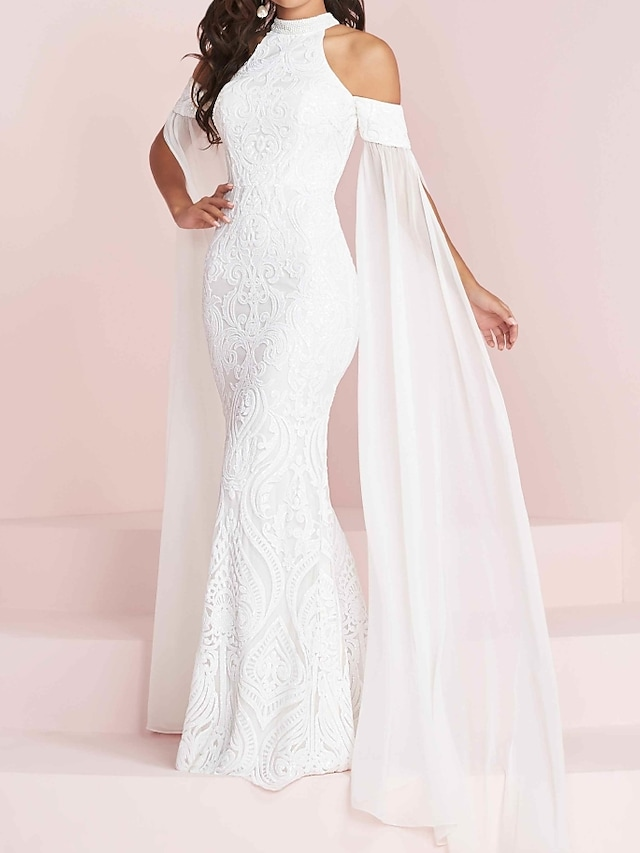 Mermaid / Trumpet Wedding Dresses Halter Neck Floor Length Polyester Short Sleeve Country Plus Size with Appliques 2021