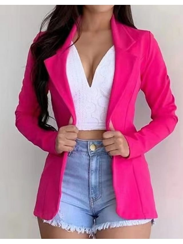 Women's Blazer Solid Colored Classic Style Fashion Long Sleeve Coat Fall Spring Daily Regular Jacket Yellow  Notch lapel collar