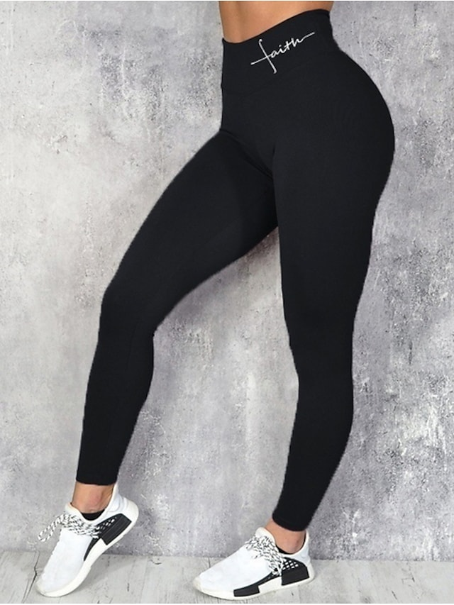 Women's Daily Sports Sporty Basic Legging Solid Colored Letter Print High Waist Black Blue Wine S M L