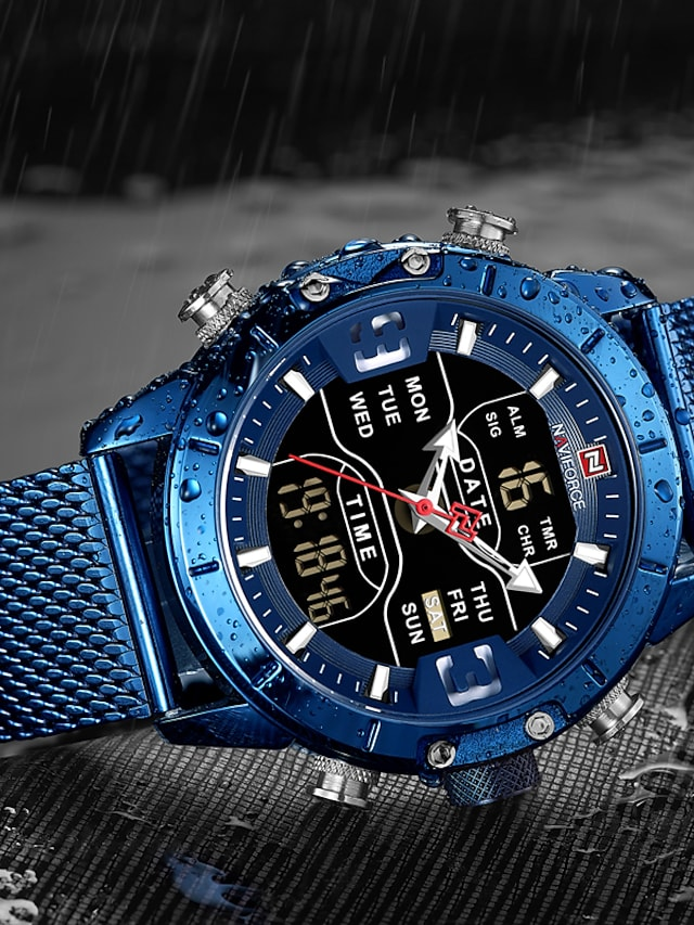 NAVIFORCE Men's Military Watch Navy Seal Watch Analog - Digital Quartz Fashion Alarm Calendar / date / day Chronograph / Two Years / Stainless Steel