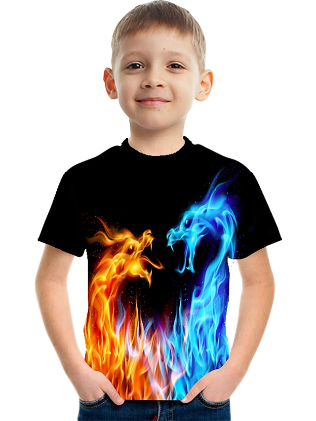 Kids Boys' T shirt Tee Short Sleeve Dragon 3D Print Graphic Flame Animal Blue Yellow Red Children Tops Summer Active Novelty Streetwear Causal Easter 3-12 Years