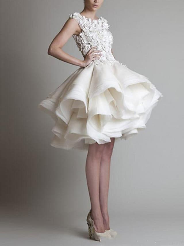 Ball Gown White Floral Homecoming Cocktail Party Valentine's Day Dress Jewel Neck Sleeveless Short / Mini Organza with Tier Appliques 2021