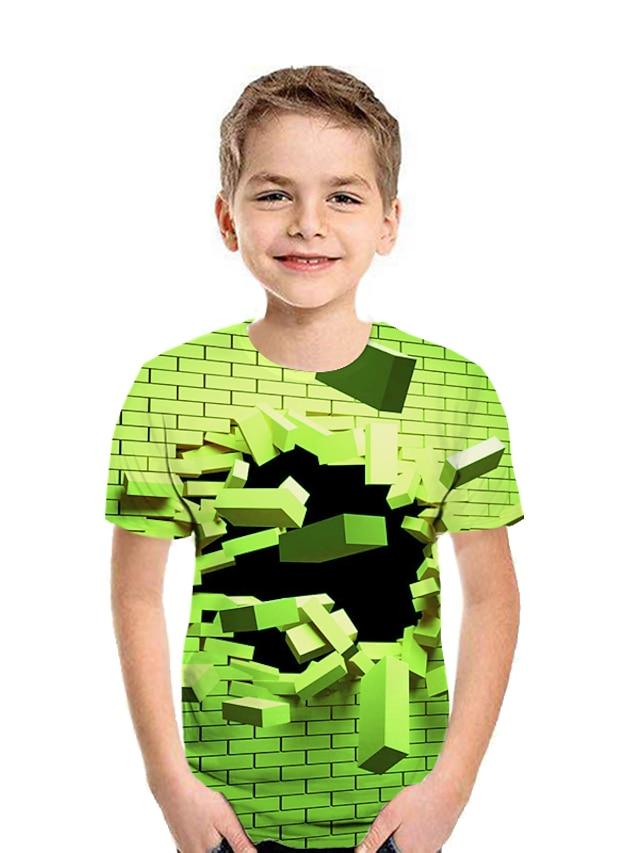 Kids Boys' T shirt Tee Short Sleeve Patchwork Geometric 3D Pleated Print Red Orange Green Children Tops Active Streetwear Children's Day