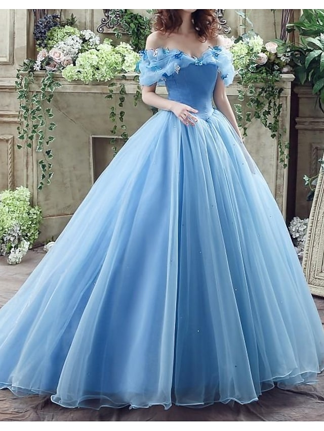 Ball Gown Wedding Dresses Off Shoulder Floor Length Polyester Short Sleeve Country Plus Size with Lace Insert Appliques 2021
