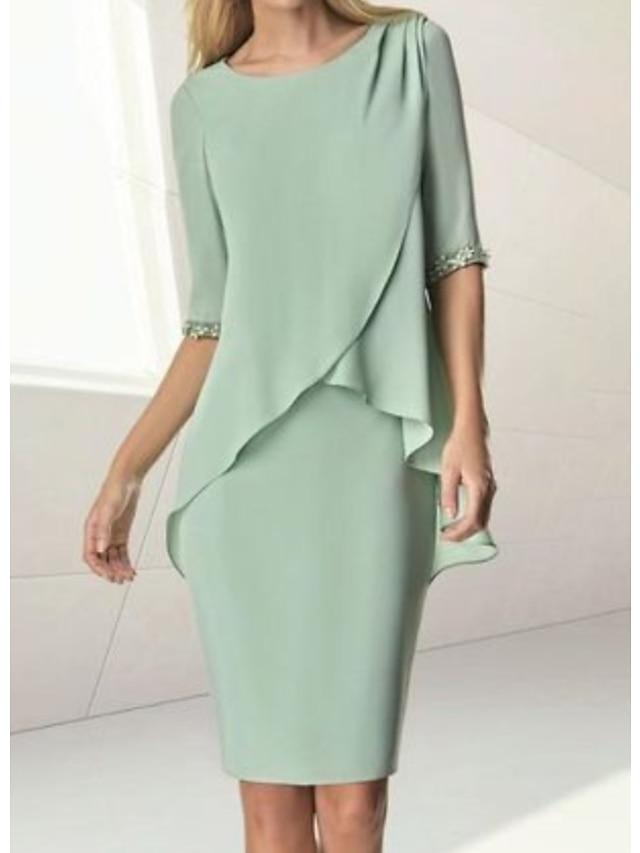 Sheath / Column Mother of the Bride Dress Elegant Jewel Neck Knee Length Chiffon Half Sleeve with Beading Ruching 2021
