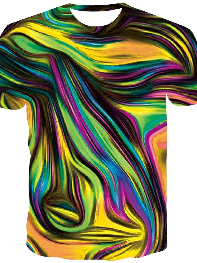 Herre T-Shirts T-shirt Skjorte Grafisk Abstrakt Trykt mønster Kortærmet Daglig Toppe Basale Designer Stor og høj Rund hals Blå Guld Regnbue / Sommer