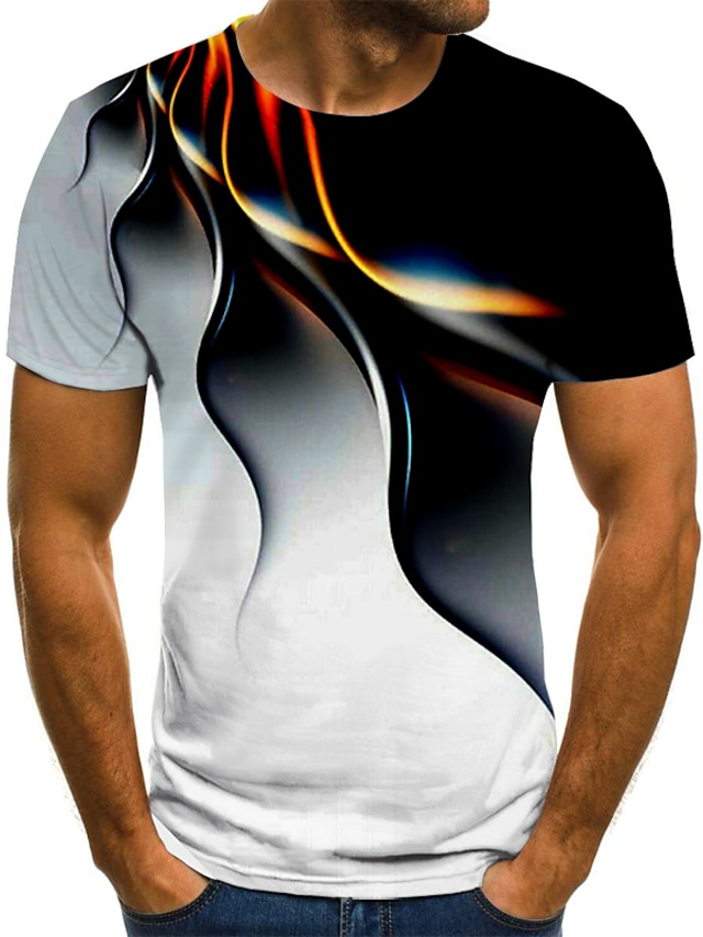 Men's T shirt Shirt 3D Print Graphic Geometric 3D Plus Size Print Short Sleeve Holiday Tops Streetwear Exaggerated Round Neck Blue Purple Yellow