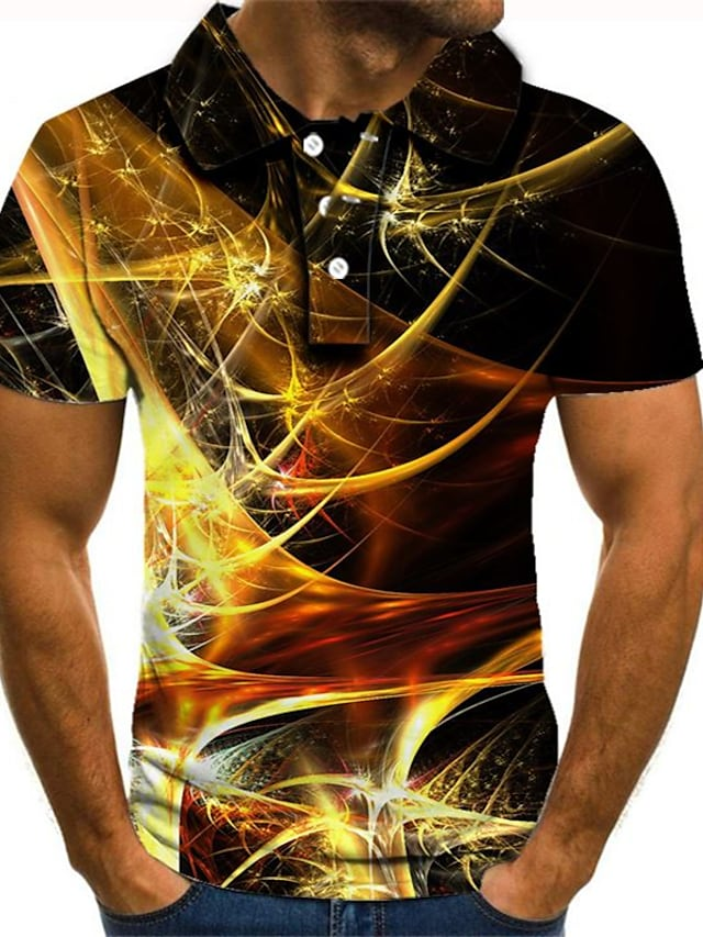 남성용 골프 셔츠 테니스 셔츠 3D 인쇄 그래픽 플러스 사이즈 짧은 소매 일상 슬림 탑스 스트리트 쉬크 과장된 셔츠 카라 레인보우