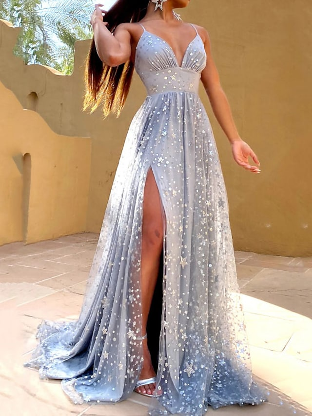 A-Line Glittering Sexy Engagement Prom Dress V Neck Sleeveless Sweep / Brush Train Satin with Pleats Sequin Split 2021