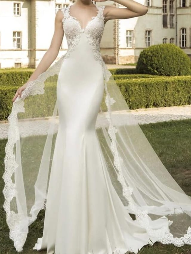 Mermaid / Trumpet Wedding Dresses V Neck Sweep / Brush Train Satin Tulle Sleeveless Formal with Embroidery 2021